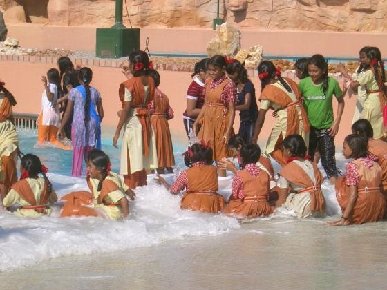 Schoolchildren enjoying their excursion near Bangalore in South India...